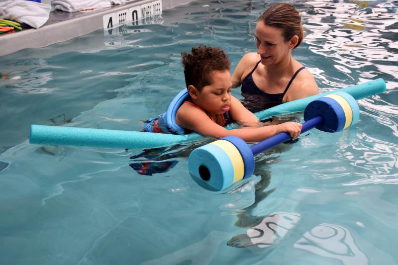 Elder participates in his aquatic therapy session at Blythedale's pool.